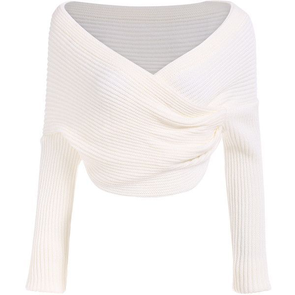 Boat Neck Wraped White Sweater (£14) ❤ liked on Polyvore featuring tops, sweaters, shirts, crop top, long sleeves, white, loose white shirt, white shirt, white pullover sweater and long sleeve tops