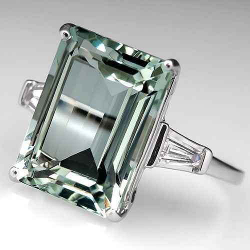 Vintage Prasiolite Cocktail Ring w/ Diamonds 14K White Gold - EraGem