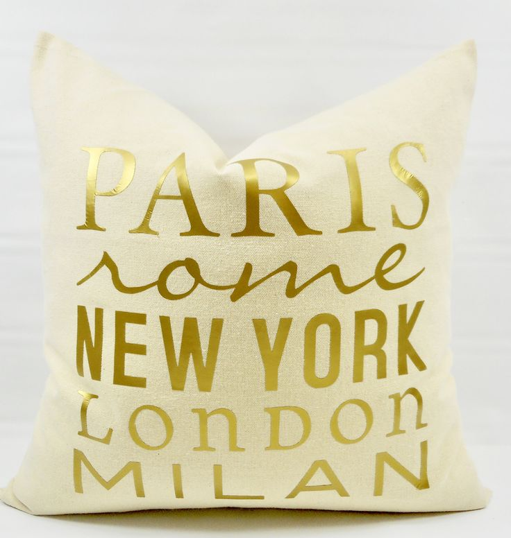 Gold & Beige Pillow Cover. Paris Pillow Cover. Fashion Capital Print Pillow cover. Gold Pillow Case.1 piece.  cotton. Fits 18x18. by TwistedBobbinDesigns on Etsy