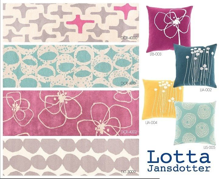 Check out these beautiful new rug and pillow designs brought to you by Surya and our new design partner @Lotta Nikki Jansdotter!