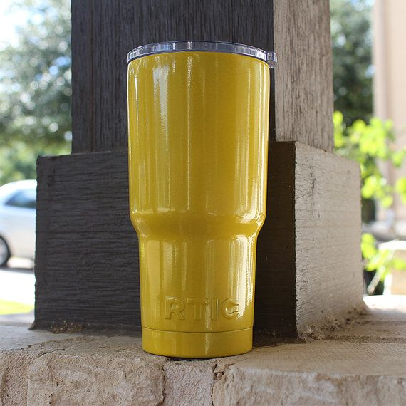 Gloss Yellow 30oz Powder Coated RTIC Cooler Yeti by TinCupSupply