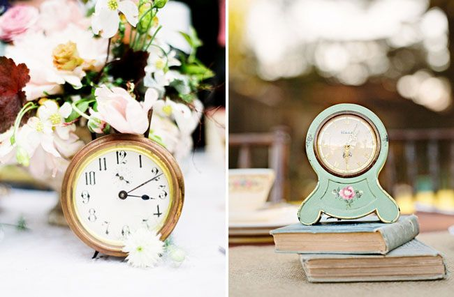 clock centerpieces--set them to different times to double as table numbers