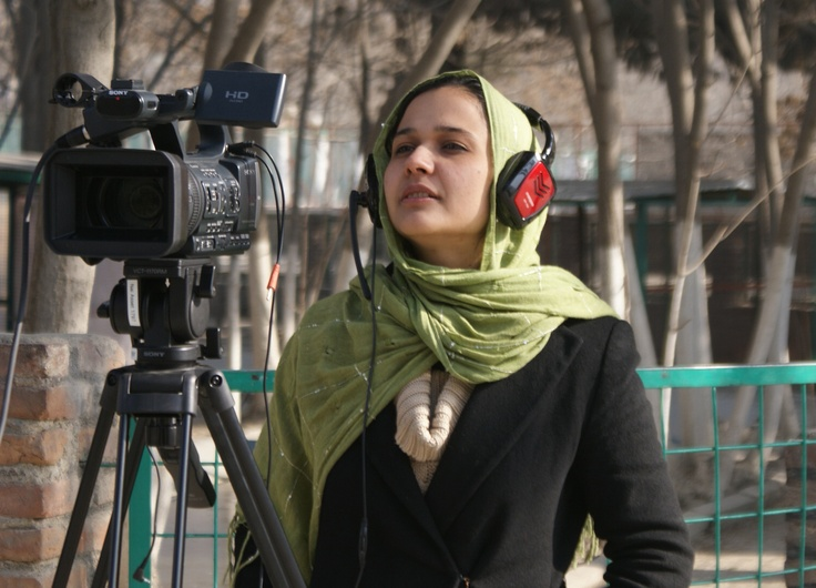 Tamana Radmanish, a graduate of the Faculty of Journalism at Kabul University, participates in a Nai Video Journalism training course at the Kabul Zoo.