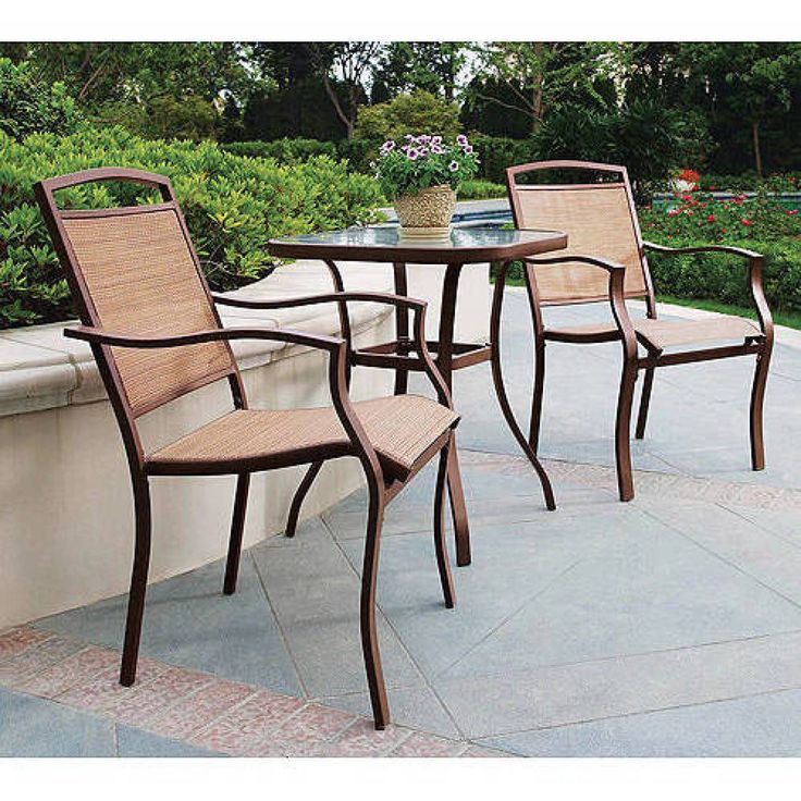 Outdoor Bistro Set 3 Piece Tan Tempered Glass Table Top Home Garden Furniture #Mainstays