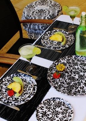 damask melamine dinner set 2
