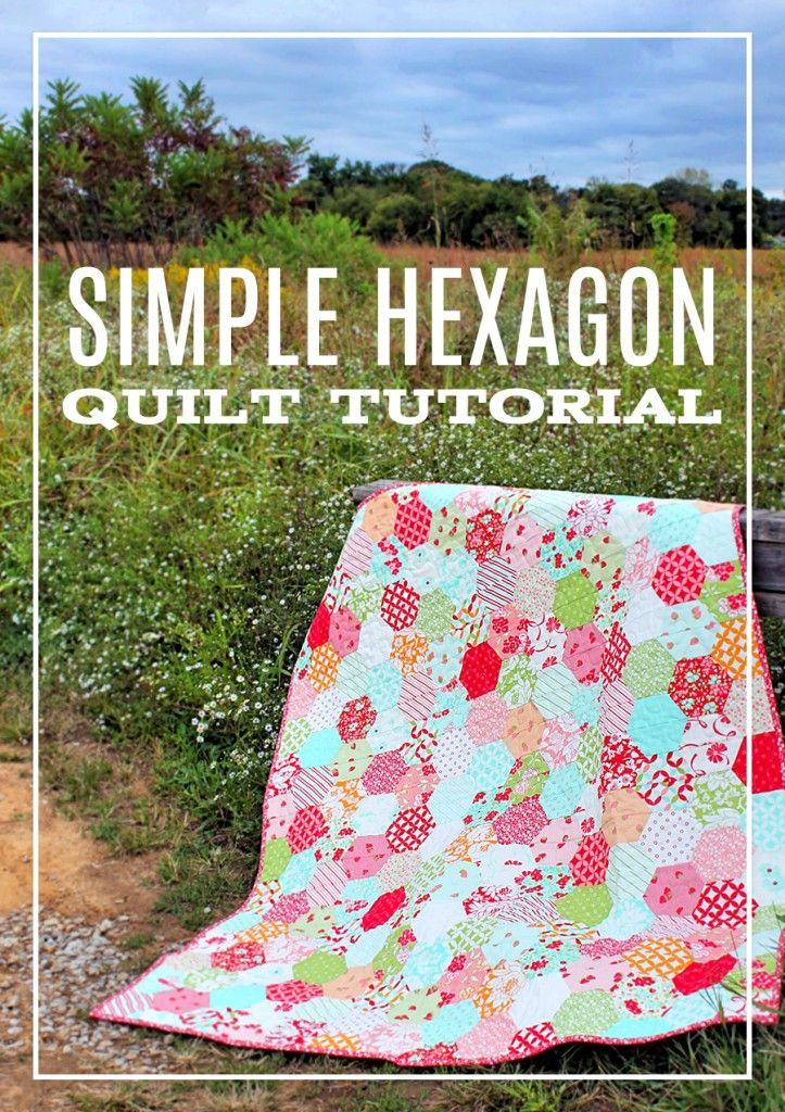 """I decided to make the largest quilt I could, armed with just ONE Hello Darling Jelly Roll by Thimble Blossoms for Moda and the MSQC 5″ Small Half Hexagon Template! I also used 1/2 yard for the binding. I could not be happier with the results! The finished quilt is about 46""""x55"""" and makes the perfect lap quilt or picnic-for-two quilt! If you want to have a picnic that includes your kids, you may want to use 2 jellyrolls so everyone can fit on the quilt!"""