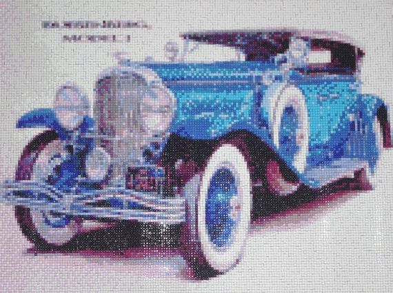 Blue Big Car Diamond Painting Finished Completed Wall Decor