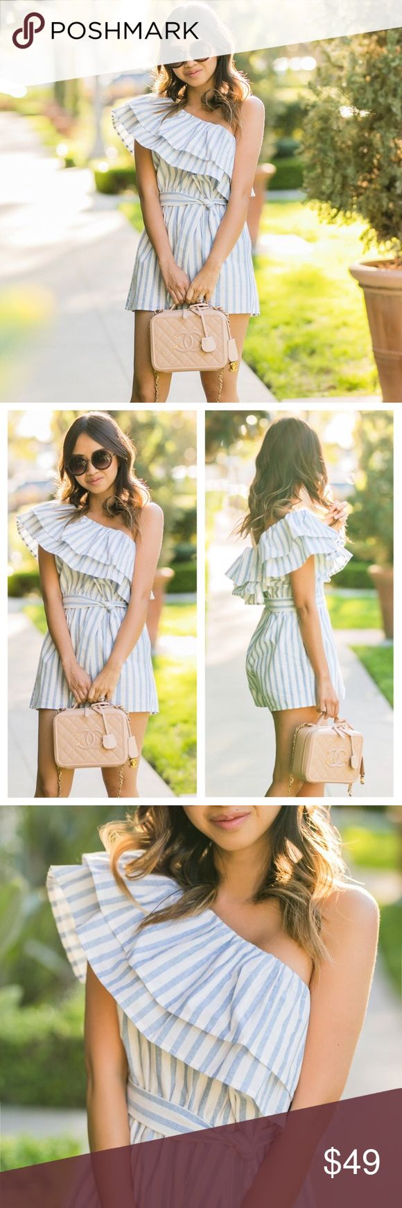 LOLITA Candystripe One Shoulder Ruffle Romper PREORDER* Ships to you next week  PRICE FIRM  The cutest blue and white candy stripe romper with a ruffled sleeve. This one shoulder beauty has a sash-tie waist. Last photo is the exact romper you'll receive.  ↝ ADD 3+ ITEMS TO A BUNDLE AND RECEIVE 10% OFF!   Tags: romper, jumpsuit, jumper, striped, stripes stripe, candy stripe, summer, spring, cute, lolita, ruffle, off one shoulder Pants Jumpsuits & Rompers