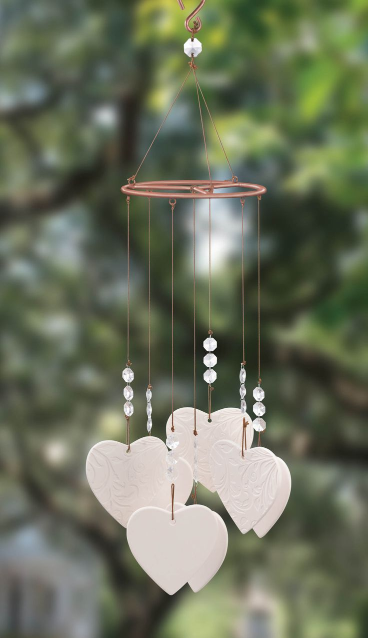 White Porcelain Heart Wind Chime
