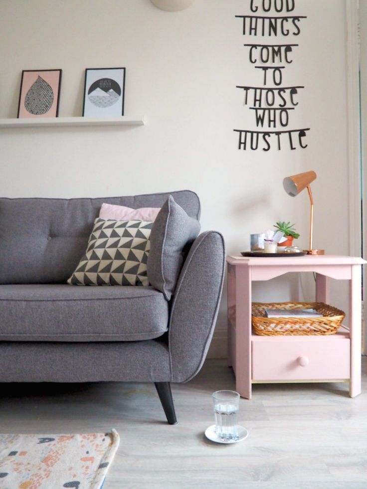Grey, white and blush pink living room. Scandi style interiors.