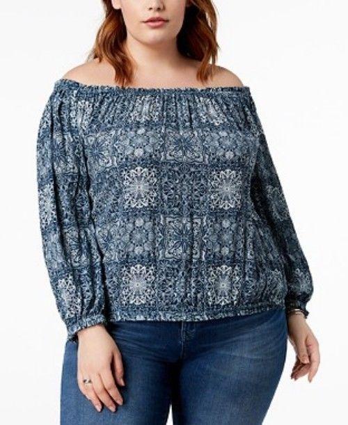 a900ec2f5 Tommy Hilfiger women's Plus Size Floral-Print Top blouse Indigo Multi 2X # TommyHilfiger #Blouse