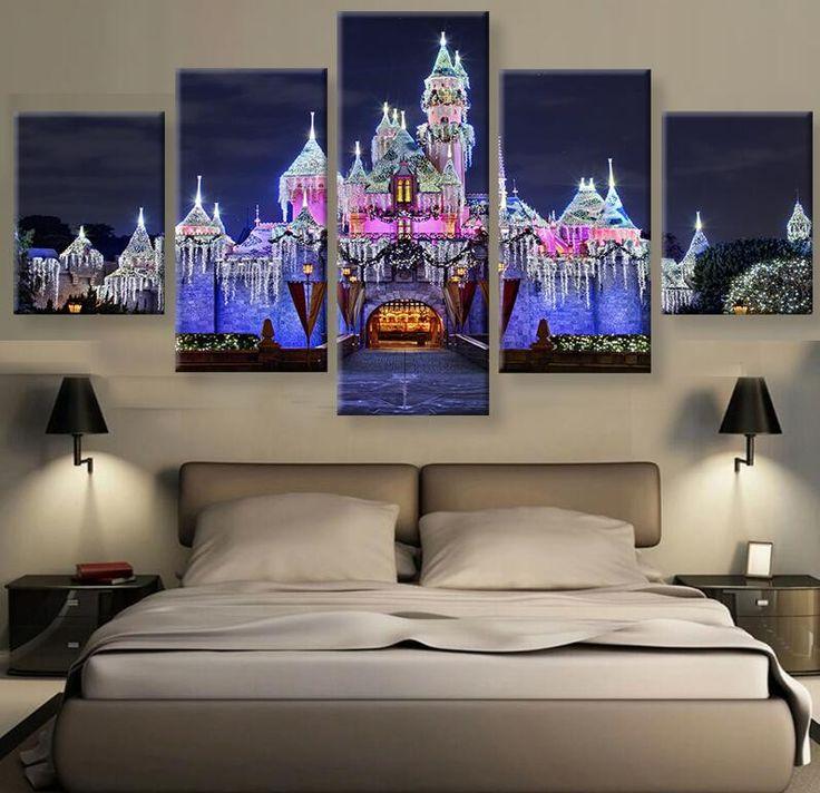 MAGIC KINGDOM CASTLE - HQ 5-PIECE ART CANVAS PRINT