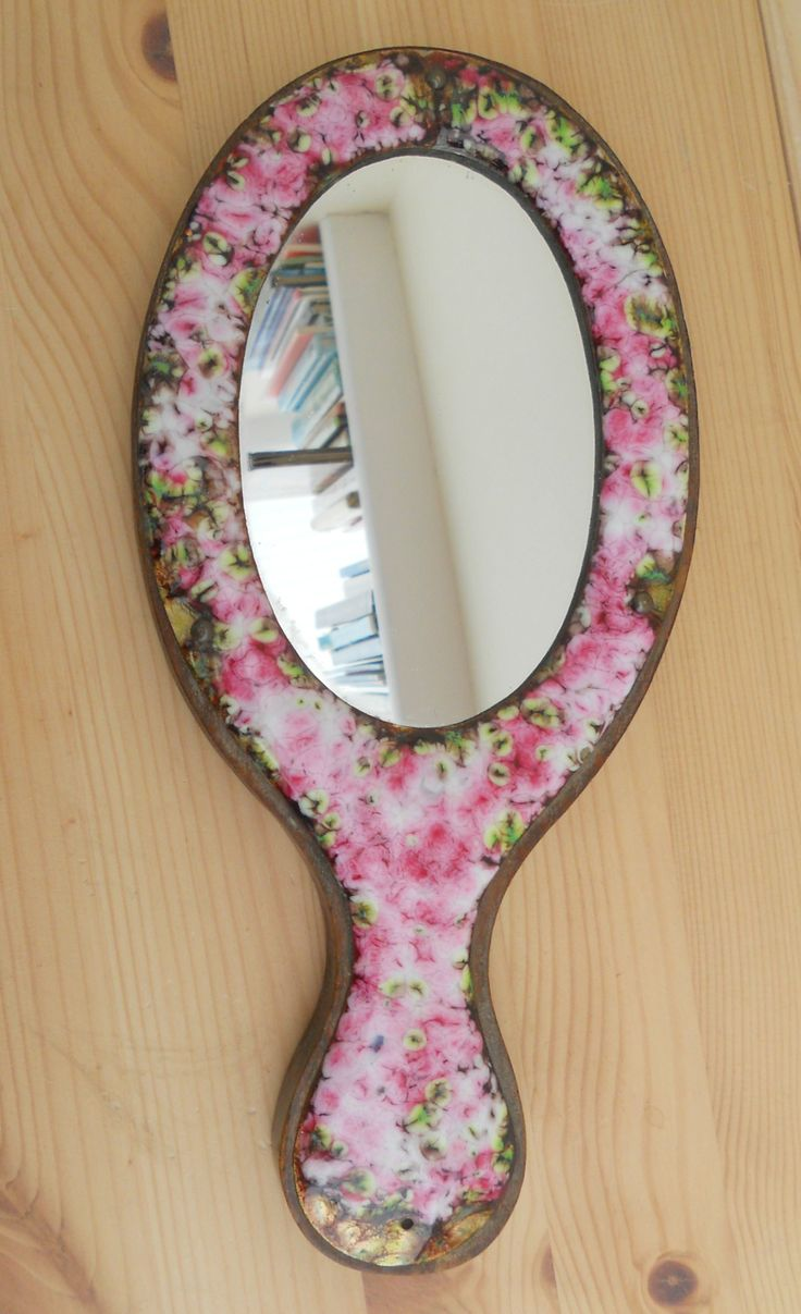 VINTAGE WOODEN HAND MIRROR WITH FLORAL ENAMEL SURROUND ~ sold ON MY EBAY SITE LUBBYDOT1