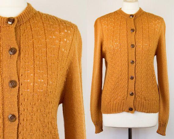 40's WW2 Handmade Rust Orange Land Girl Cardigan by RubyJunctionHQ