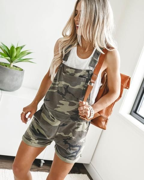 61cdf2c2a0 CAN'T FIND ME CAMO POCKETED OVERALL SHORTS $62.00 | VICI Clothing in ...