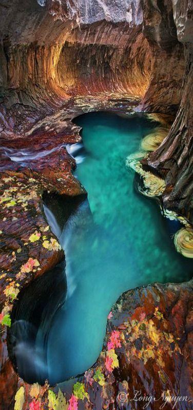 Subway Pool - Blue Subway Pool, Zion National Park, Fall, Utah, USA