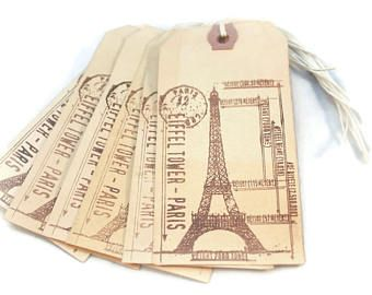 Etiquetas de regalo de Torre Eiffel, Francés etiquetas, etiquetas de París, té de colores etiquetas, colgar etiquetas, primitivo, Francés Chic etiquetas, mercancía, etiqueta Shabby