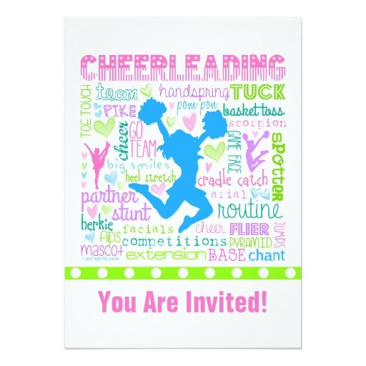 432 best cheerleader birthday party invitations images on pinterest personalized pastel cheerleading words typography card filmwisefo