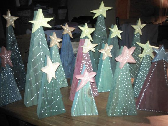 Primitive Wooden Christmas Trees with Stars by CurbsidePickins, $5.00