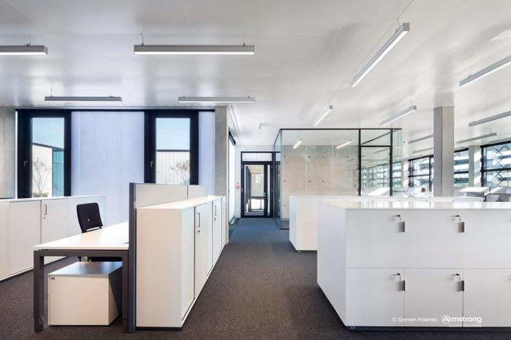 Siedziba firmy Trumpf, office, ceiling, acoustic, Armstrong, sufity podwieszane,  R-Clip Rg2516 with fleece RAL9010; special Bandraster
