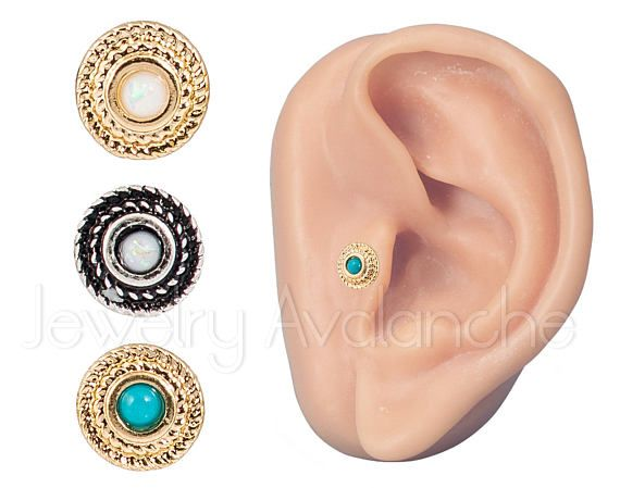 316L Surgical Steel Helix Studs Cartilage Earrings Jewelry Avalanche 2 Pieces 18G Opalite Tragus Ring