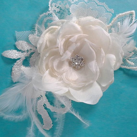 Bridal Hair rose Ivory Lace Organza Feather Rose by HARTfeltart