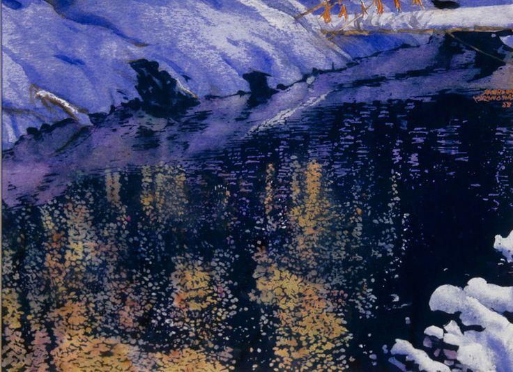 "sundown - open cedar stream (16) 11' x 16"" micheal zarowsky / watercolour on arches paper (private collection)"