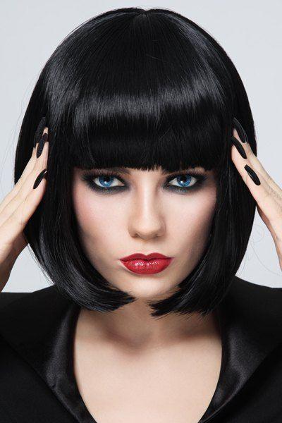 Stylish Heat Resistant Synthetic Bob Style Neat Bang Black Short Straight Capless Women's Wig