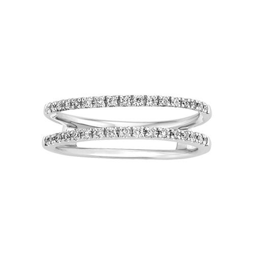 Fred Meyer Jewelers - This lovely ring guard features 1/4 carat total weight round diamonds set in 14 karat white gold. This ring guard is a perfect enhancer for many of our solitaire engagement rings and will create a unique, one-of-a-kind wedding set for your true love. B...
