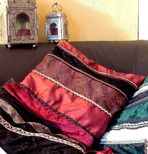 Orientalische-Kissen-Kissenhuelle-Kissenbezug-orient-Samt-Brokat-40cm-X-40cm Farbbeispiel mit schwarz