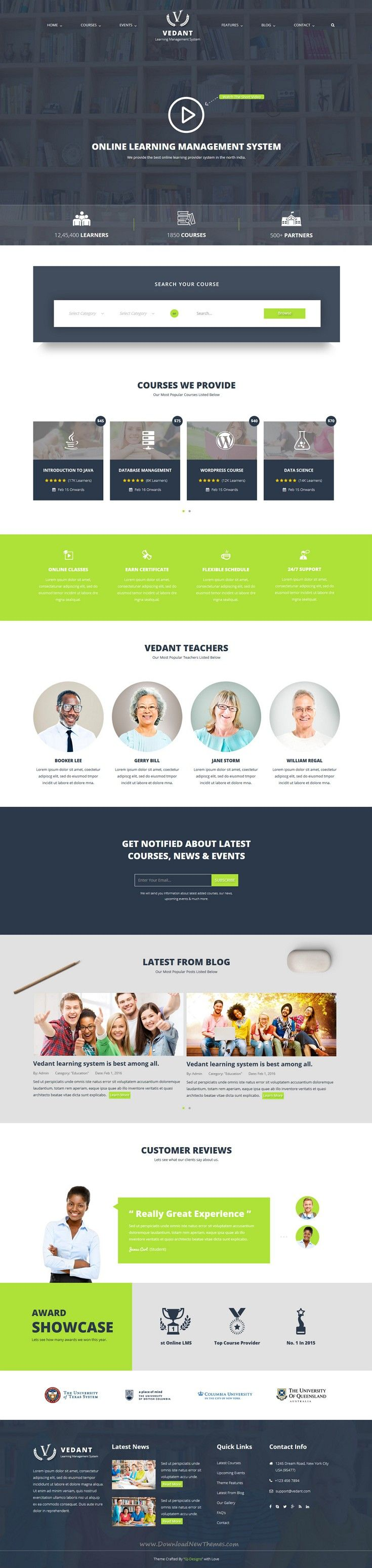 Vedant is perfect educational bootstrap template for #school, university, online courses or video blogs complete learning management system #website. #LMS Download Now!