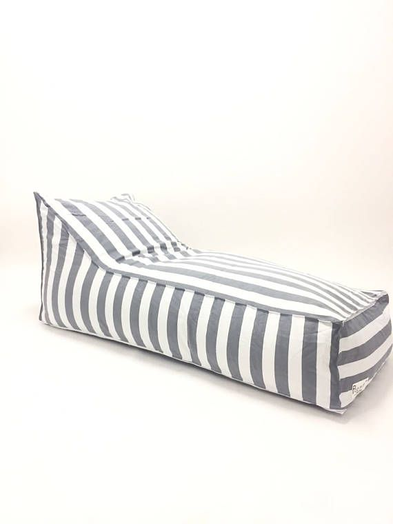 Outdoor Bean Bag Gray and white stripes pouf chair outdoor