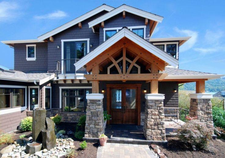 Craftsman Exterior of Home with Pathway, Bird bath, exterior brick floors, Skylight