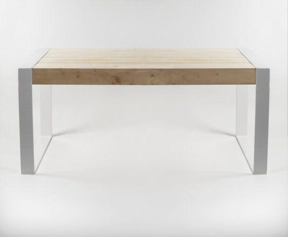 Tavolo da pranzo fatta a mano. Puro design contemporaneo. Acciaio e legno. di Poppyworkspl