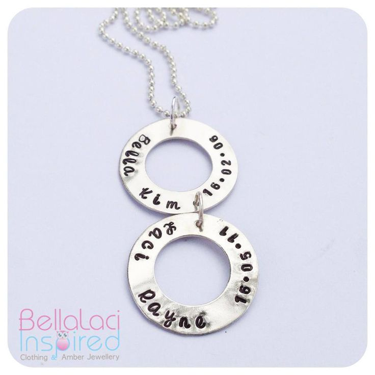 Sterling Silver Handstamped Double Love Circle Pendant.
