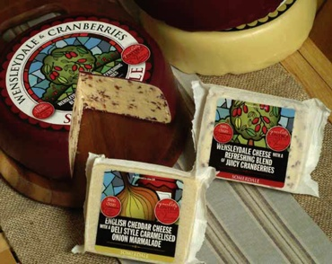 Wensleydale with Cranberry, Cheddar with Caramelized Onion. Two luscious flavour combinations, fit for any cheese board.