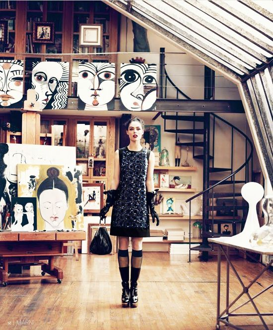 Ruben Toledo's studio. #art #decor #decoration #interior #painting #drawing #model #cocorocha #stairs #wood