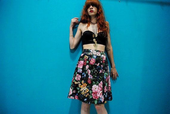 High Waisted Cotton Floral Skirt by CruelCandy on Etsy, €30.00
