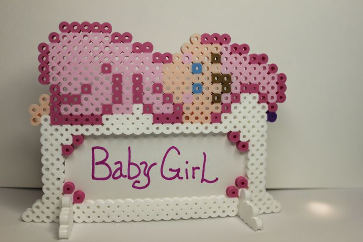 Perler beads baby girl name frame