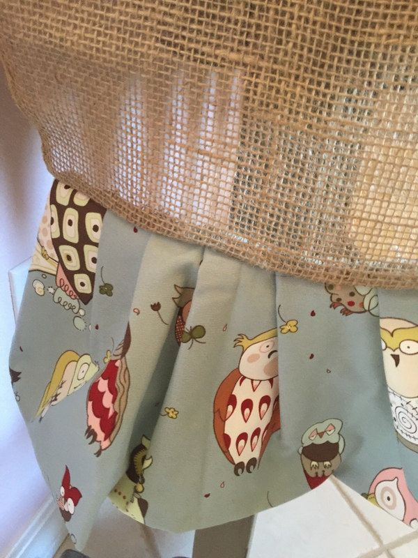 Owl print blue muted colors and tan khaki burlap table mantle runner handmade for Spring Easter cloth by TheUpcycledGoddess on Etsy