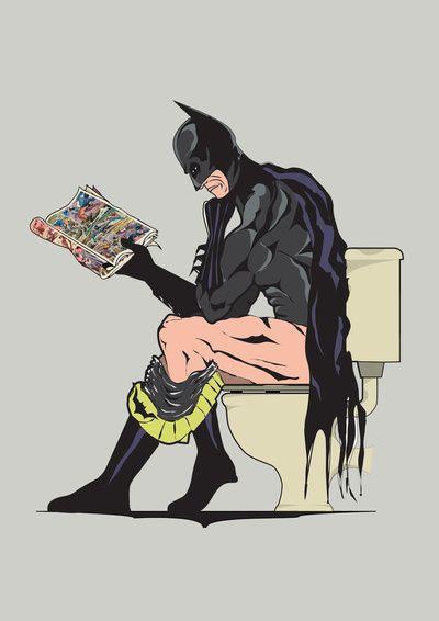 "i bet quinn would love this.. hah  Batman on Toilet  by Andy Scullion    ART PRINT / MINI (8"" X 10"")  $15.08"