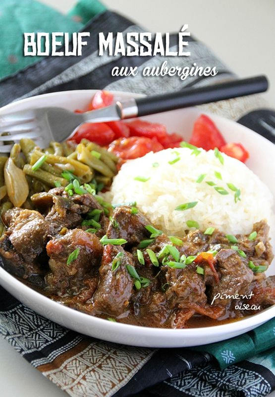 boeuf massalé aux aubergines - massalé beef stew with eggplant