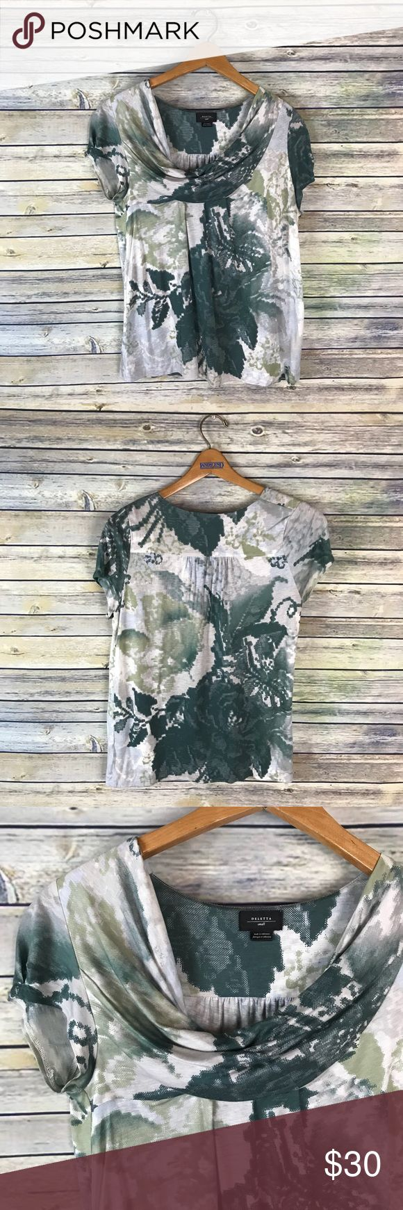 """Deletta Anthropologie Make a Splash Cowl Neck Top Very pretty green watercolor floral top with a slouchy cowl neck. Gently used condition.  Measurements laying flat (without stretching) -  -Armpit to armpit: 19"""" -Length, shoulder to hem: 24"""" Anthropologie Tops"""
