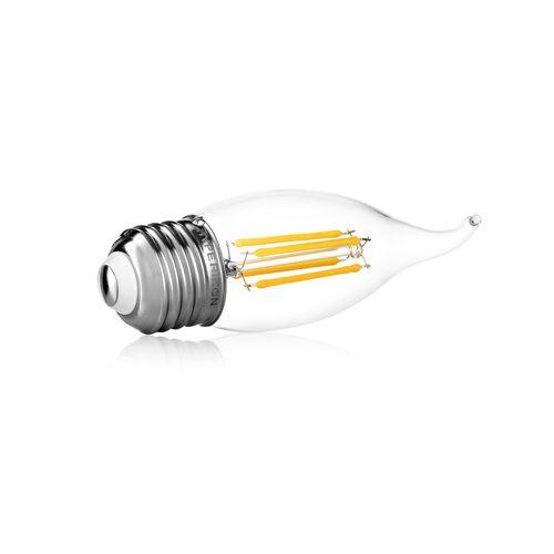 E26 Flame Tip LED Candelabra Bulb Hyperikon® LED Filament Candle 4-Watt (40-Watt Equivalent), Flame Tip, Medium Base (E26), 2300K (Amber Glow®), 340°-Beam Angle, Dimmable