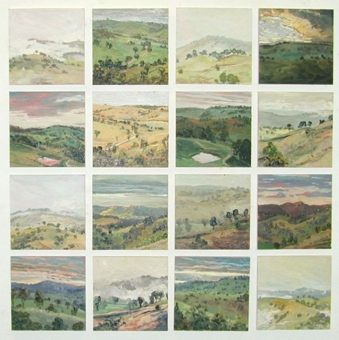 www.benstonerantiques.com Lucy Culliton. Australian Artist. #20 Hartley Landscape, Oil on Board 16 Panels 128.5 cm x 128.5 cm 2002, AP0037.