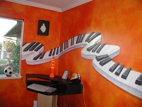 Attractive Piano for Teen Bedroom Murals