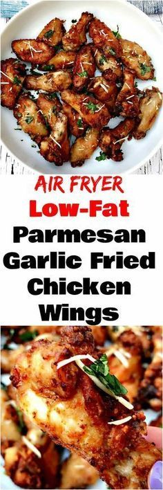 Air Fryer Garlic Parmesan Breaded Fried Chicken Wings is a quick and easy low-fat recipe for crispy and crunchy chicken wings.