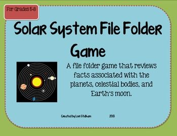 Solar System File Folder Board Game for the upper elementary/middle school classroom: File Folder