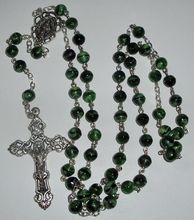 Vintage Rosary with Green Glass Beads, Ornate Crucifix