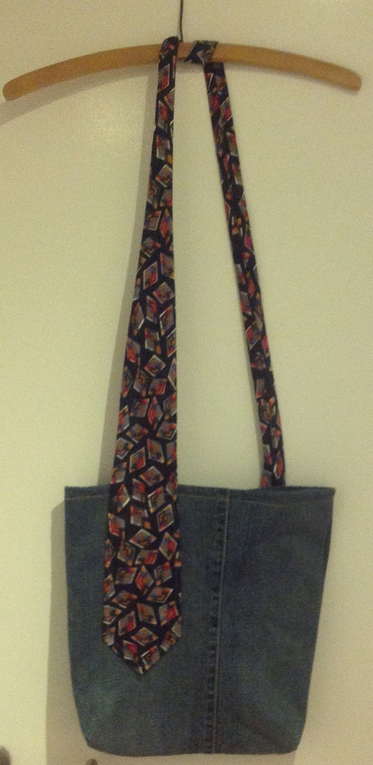 Old jeans crossbody bag with a tie as strap